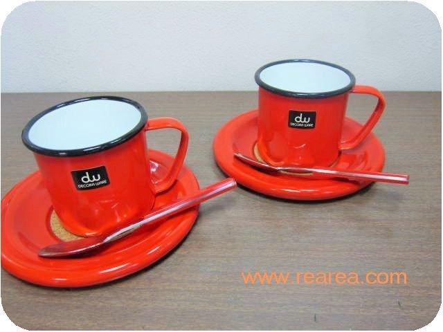 完売■DECORA WAREカップ&ソーサーペア ホーロー デコラウェア(コーヒーマグ*昭和レトロ雑貨