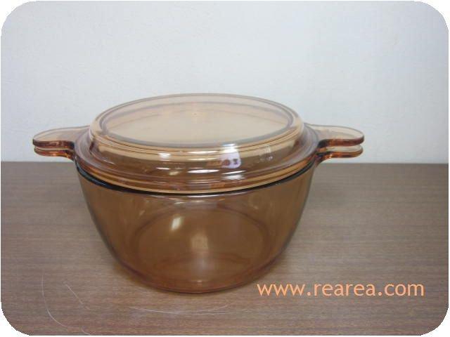 完売■ FRANCE製 VISION 耐熱ガラス 両手鍋1.5L(ビジョンフランス大鍋*昭和レトロ雑貨
