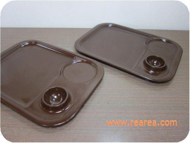 メリーナmellina ペアモーニングプレート26� メラミン ブラウン used(トレー皿*昭和レトロ雑貨