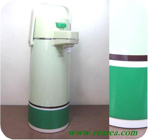象印マホービン  押すだけエアーポット リッチグリーン 2.2L VE-2200 (保温ポット魔法瓶〓昭和レトロキッチン…