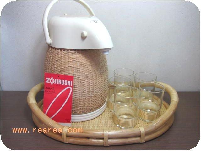 完売■籐編みセット象印エアーポット&トレー&耐熱グラス(AAA-19*昭和レトロ