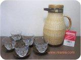 完売■籐編み象印 保温ポット1.0L コースター冷茶グラスセット(VGR-1000*昭和レトロ雑貨家具デザイン
