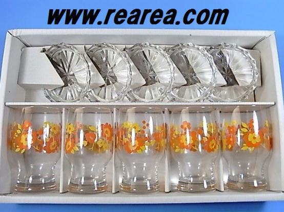 完売■ 昭和レトロ 黄色×オレンジ 花柄 グラス/タンブラー(小皿付) 5客セット 佐々木ガラス