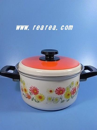 完売■ 昭和レトロ  マルワイ レトロでかわいい花柄 ホーロー 両手鍋 2.0L