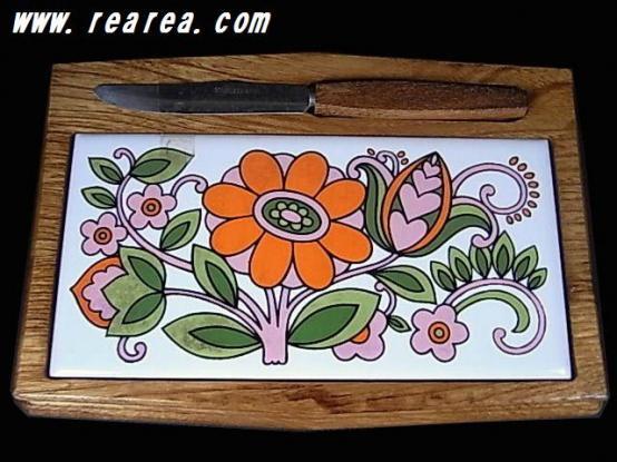 完売■ 昭和レトロ 木製モーニング ミニ プレート フルーツボード 鍋敷き