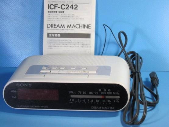 完売■ SONY/ソニー★ FM/ AM デジタル クロックラジオ ICF-C242  時計 昭和レトロ雑貨