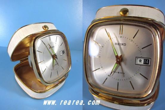 完売■ アンティーク 70年 セイコー トラベル置時計  コンパクト時計 手巻式 seiko