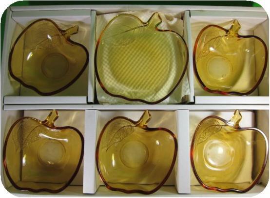 完売■曽我ガラス アップルテーブルセット 小皿×5枚 小鉢5枚 (〓昭和レトロ雑貨リンゴアりんご