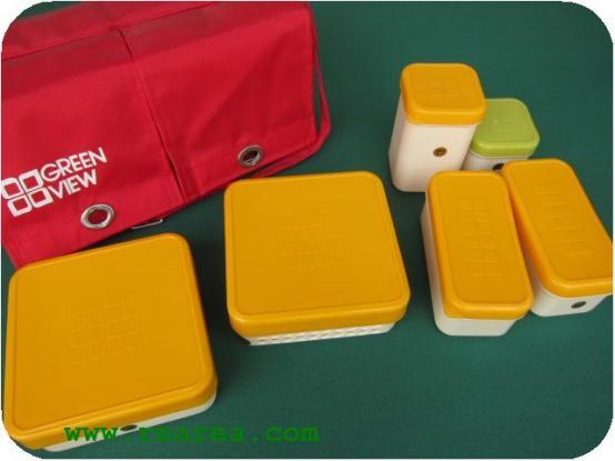 完売■GREEN VIEW ランチボックスセット バッグ付 (弁当箱ピクニック〓昭和レトロ雑貨