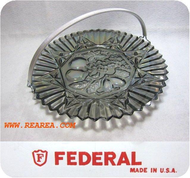 FEDERAL フェデラル社 ガラスプレート29㎝ アメリカ食器 取っ手付き(USA製 大皿*昭和レトロ雑貨