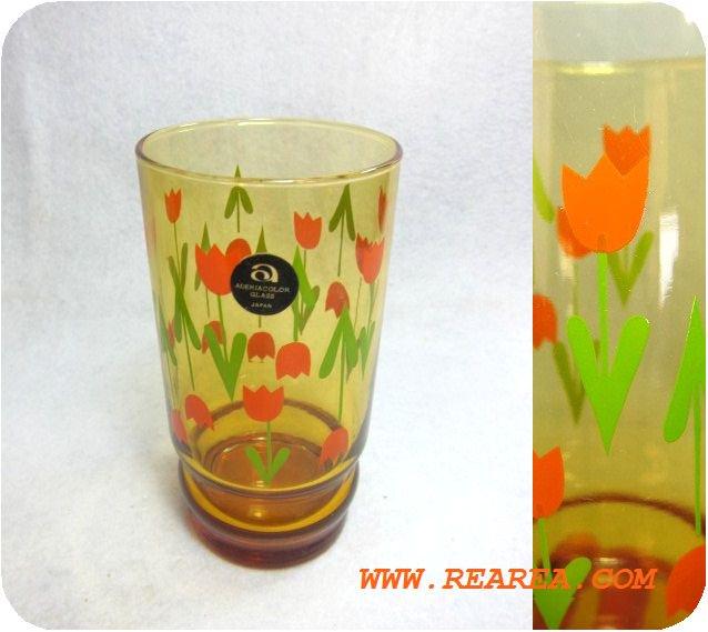 セール30%OFFアデリアADERIA GLASS タンブラー チューリップ 花柄  アンバー(グラス コップ*昭和レトロ…