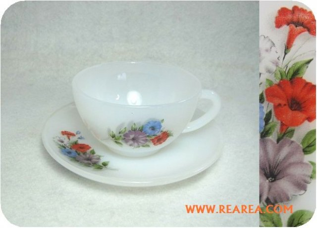 アルコパル arcopal  花柄  耐熱ガラス カップ&ソーサー (フランス製 FRANCE*昭和レトロ