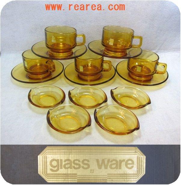 完売■曽我ガラス グラスウェアセット 小皿5枚 カップ&ソーサー5客 (SOGA アンバー*昭和レトロ雑貨