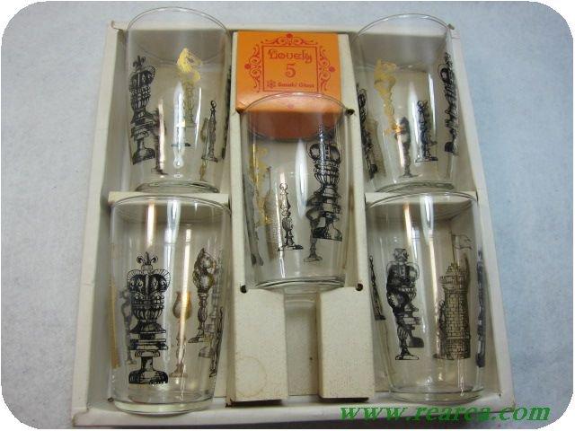 ササキガラス Lovely5 チェス柄 グラスセット5客  (佐々木硝子ガラスコップ〓昭和レトロキッチン雑貨