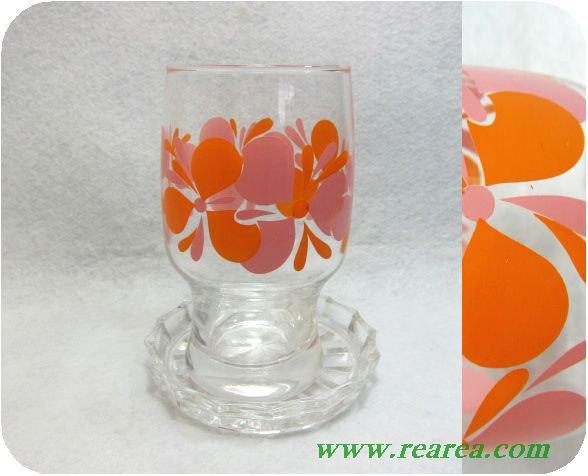 ササキガラス サイケ花柄 コースター付タンブラー(佐々木硝子コップグラス〓昭和レトロ雑貨
