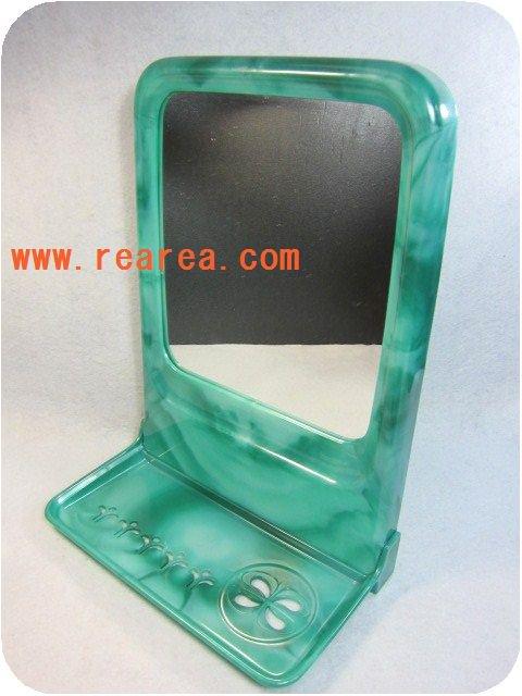 セール50%OFF パーソナルミラー壁掛けホルダー ラック 鏡(洗面用具*昭和レトロ雑貨