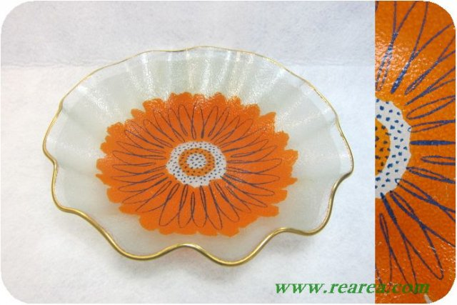 完売■ 花柄 フレア ガラスプレート26cm  u(ボウル皿〓昭和レトロ雑貨