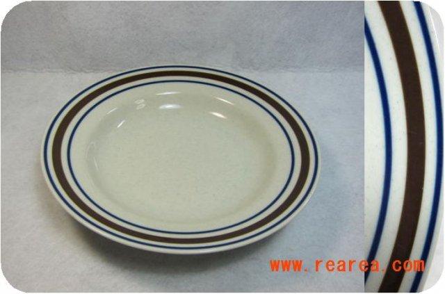 完売■  marumi 中皿 ブラウンネイビーライン プレート23cm スープ皿 (カレー皿*昭和レトロ雑貨