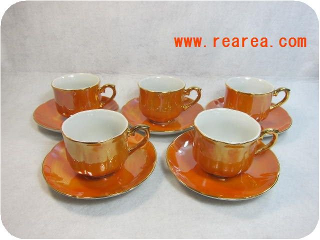 セール50%セール KANESHIONE CHINA  カップ&ソーサー5客セット オレンジ(70年代*昭和レトロ雑貨