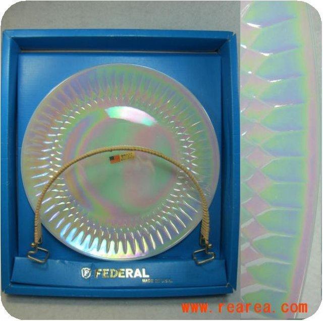 完売■FEDERAL フェデラル社 ガラスプレート25� A  アメリカ食器 取っ手付(USA製中皿*昭和レトロ雑貨