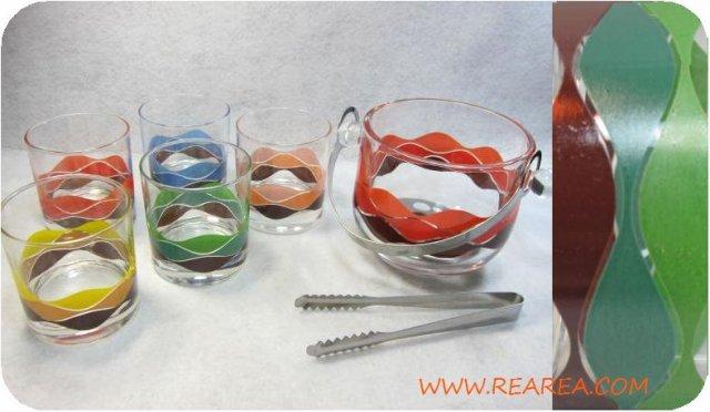 TAHITI ガラス製アイスペール&グラス5客アイスセット トング付き(タンブラー*昭和レトロ雑貨