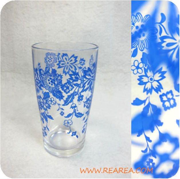 東洋ガラス レトロなグラス 花柄ブルー(タンブラー コップ*昭和レトロ食器