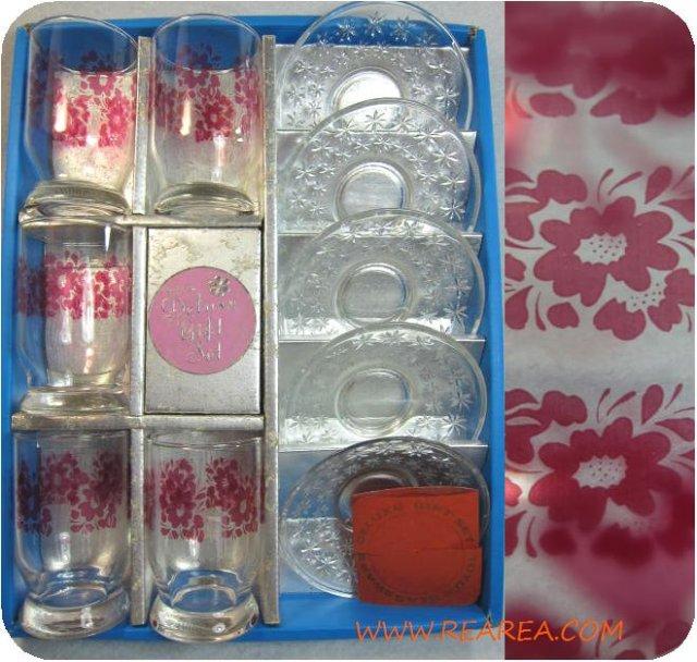 東洋ガラス 花柄グラス&ガラスソーサーセット 脚付 (タンブラーコップ*昭和レトロ食器