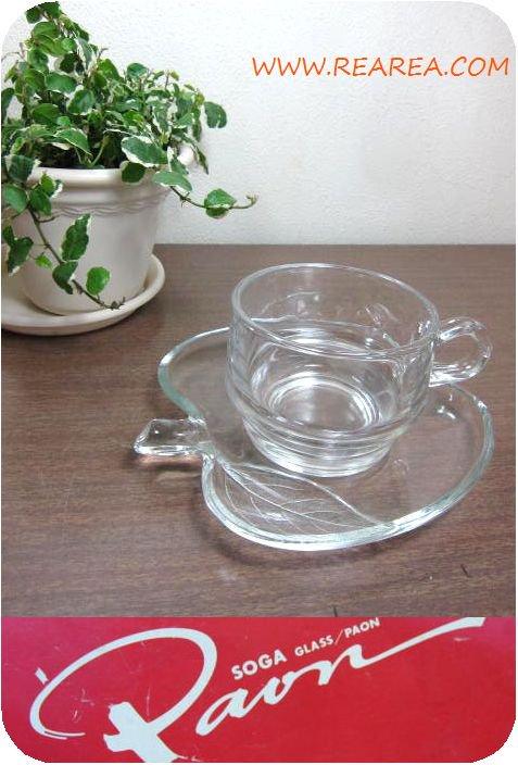SOGAアップル カップ&ソーサー クリア 耐熱ガラス製 (曽我ガラスりんご型*昭和レトロ雑貨