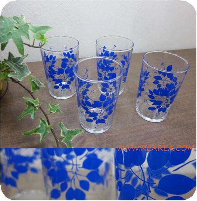 レトロ花柄 グラス4個セット ブルー葉っぱ(タンブラーコップ*昭和レトロ食器