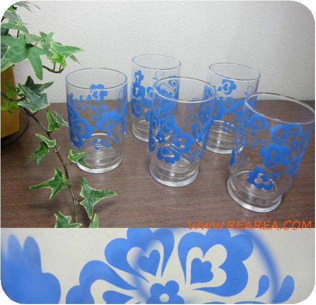 セール30%OFF ササキグラス レトロ花柄5個セット ハート柄ブルー(タンブラーコップ*昭和レトロ食器