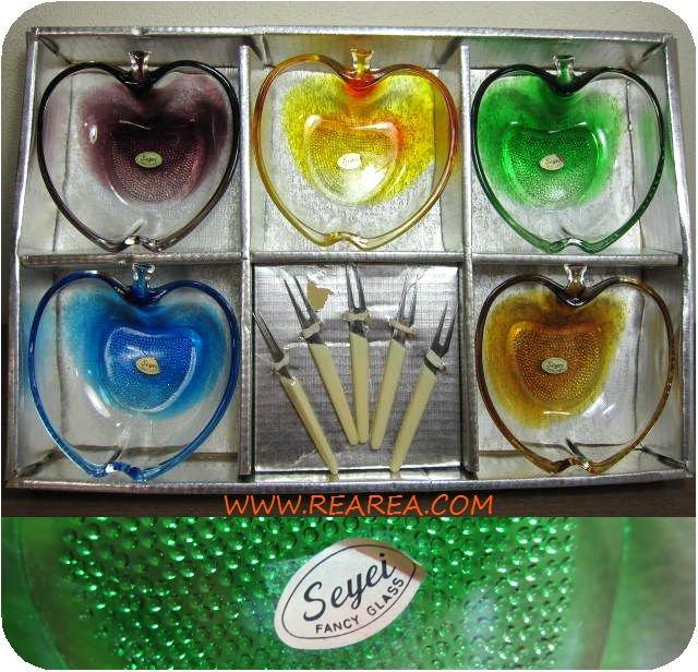 セール30%OFF seyei  ガラスボウル13.5cm  りんご型 5色セット デザートフォーク(セーエー 林檎リンゴ*昭和レトロ…