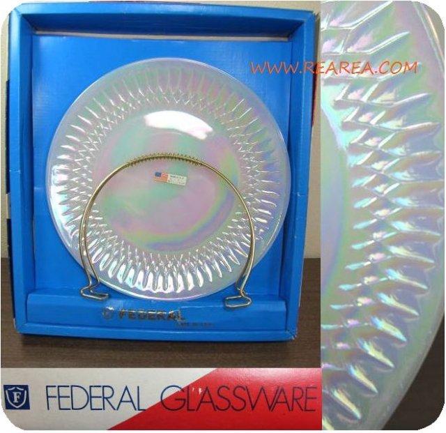 FEDERAL フェデラル社 取っ手付きガラスプレート25㎝ B アメリカ食器 (USA製中皿*昭和レトロ雑貨