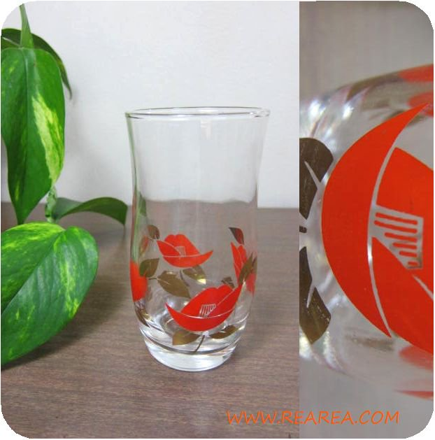 完売■レトロな花柄  グラス赤(バラ椿つばき タンブラー *昭和レトロ食器