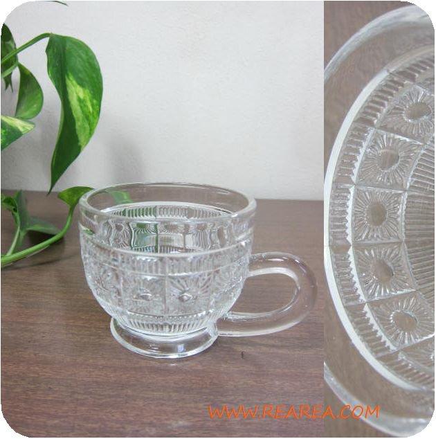 ガラス製カップ クリア取っ手付きグラス(コーヒーカップ *昭和レトロ食器