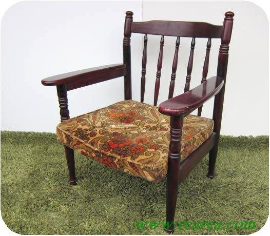 完売■ コイズミ KOIZUMI 花柄 木製 アームチェア  u(椅子イス〓昭和レトロ家具