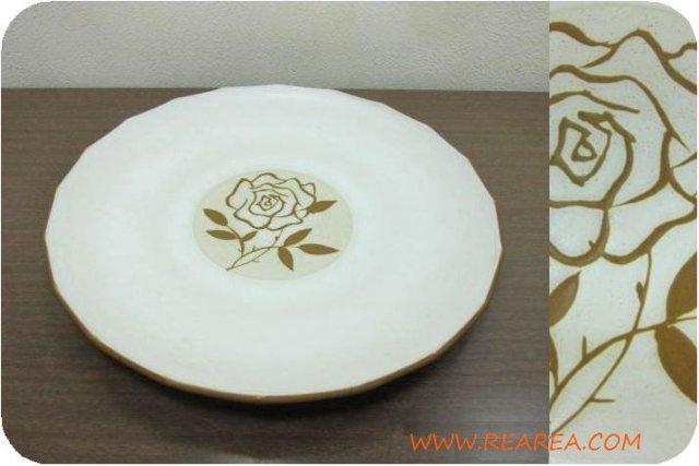 セール30%OFF KASUGAストーンウェア かわいいバラ柄  プレート27cm (大皿 薔薇ばら花柄*昭和レトロ雑…