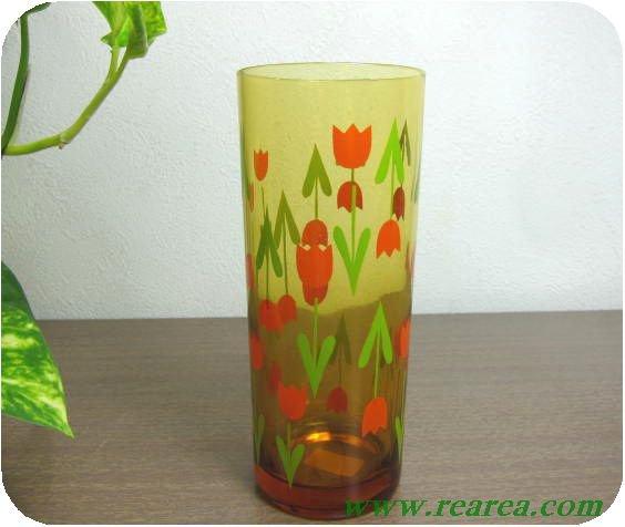 アンバーガラス チューリップ柄 タンブラー  A   (花柄グラス〓昭和レトロ