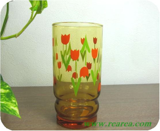 アデリア アンバーガラス チューリップ柄 タンブラー  B  (花柄グラス〓昭和レトロ