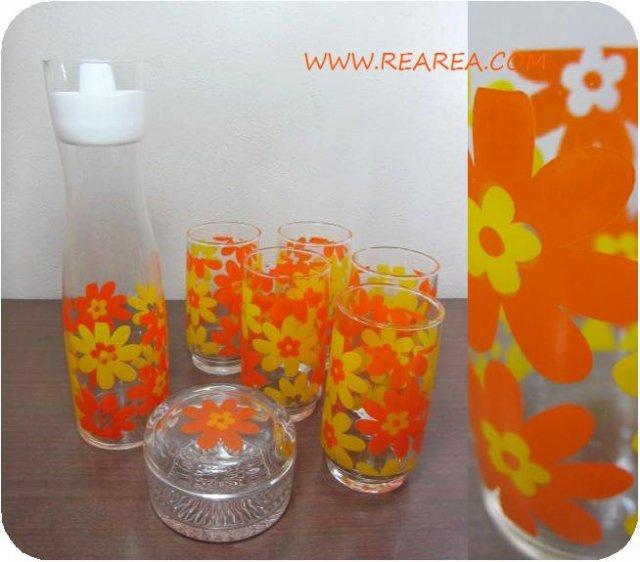 完売■ HOYAガラス  ピッチャー/タンブラー/ポット かわいい花柄7点セット(保谷GS316-2水差し*昭和レトロ…