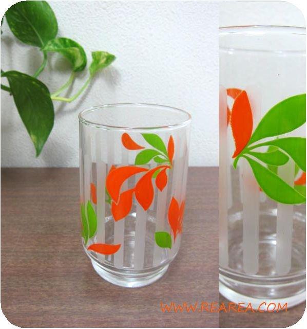 セール30%OFF  レトロ花柄 かわいいグラス 9.5cm(タンブラー*昭和レトロガラス食器