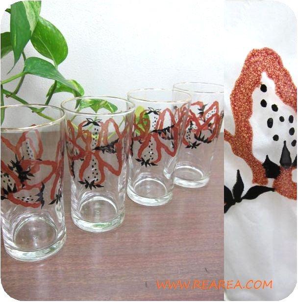 セール30%OFF レトロないちご柄 かわいいグラス4個セット(コップ 苺イチゴ*昭和レトロ雑貨