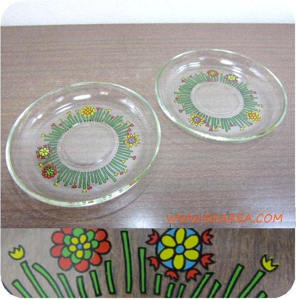 かわいい花柄 ガラスプレート14㎝ 2枚セット アウトレット (クリスタル*昭和レトロ雑貨