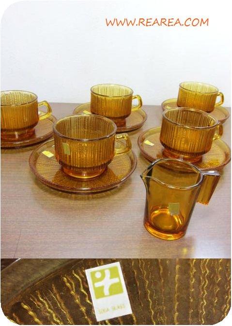 セール30%OFF SOGA 耐熱ガラス カップ&ソーサー5客/クリーマー6点セット(アンバー曽我ガラス*昭和レ…