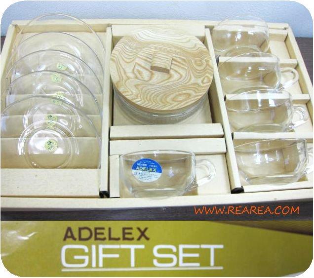 ADEREX 耐熱ガラス カップ&ソーサー5客/ガラスポット6点セット(アデリア*昭和レトロ