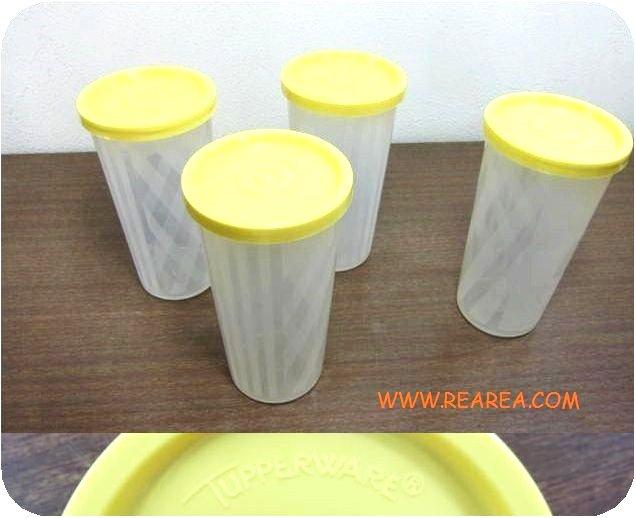 Tupperware 筒型ケース 13cm クリア×イエロー (タッパーウェア保存容器*昭和レトロ雑貨