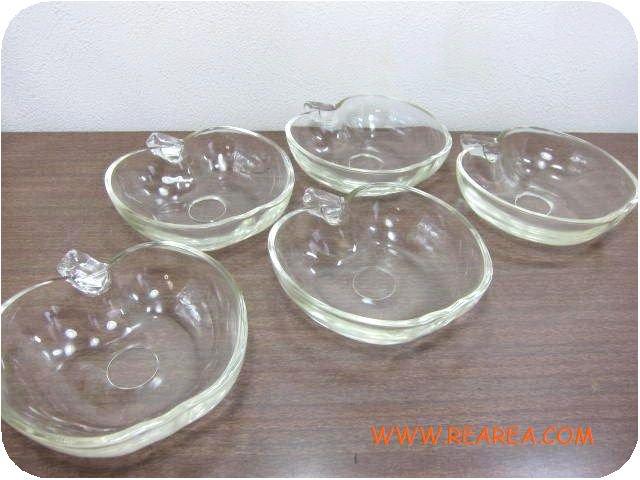 りんご型 ガラス製ボウル 5客セット 小鉢小皿 y (アップル林檎*昭和レトロ