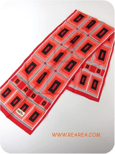 Lend★ レトロ幾何学柄 スカーフ レッド×ピンク×ブラック (ストール*昭和レトロ雑貨 帝一