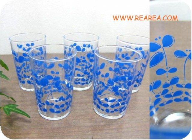 セール30%OFF  レトロ花柄 グラス5個セット ブルー(ガラス製*昭和レトロ雑貨