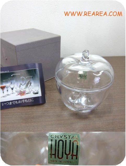 完売■   HOYAガラスクリスタルりんご型ガラスケース ポット(保谷ガラス*昭和レトロ雑貨