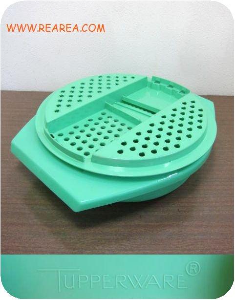 Tupperware  プラスチック製おろし器 グリーン u(タッパーウェア調理ボール*昭和レトロ雑貨